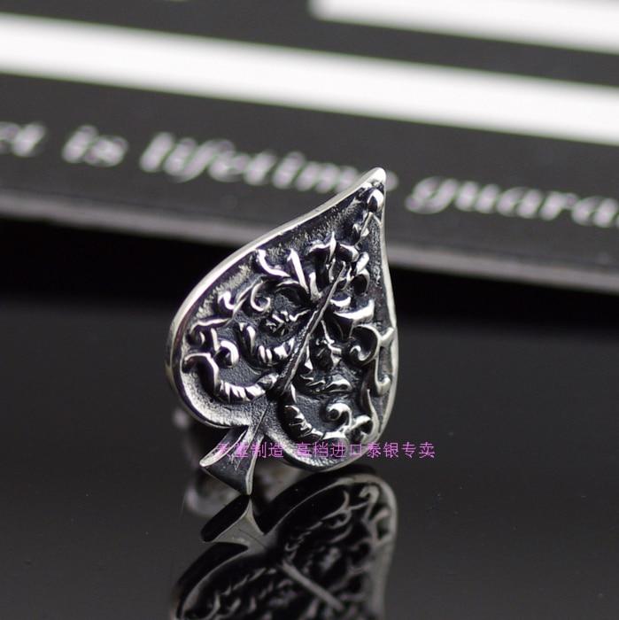 Authentique nouveau arbre pique S925 pur argent boucles d'oreilles pour homme Thai argent boucles d'oreilles pour Women1 paire
