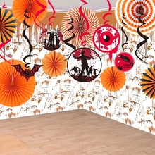 Set of 17 Halloween Decoration Kit Orange Assorted Paper Pinwheels Backdrop Spooky Ceiling Hanging Foil Swirls Party