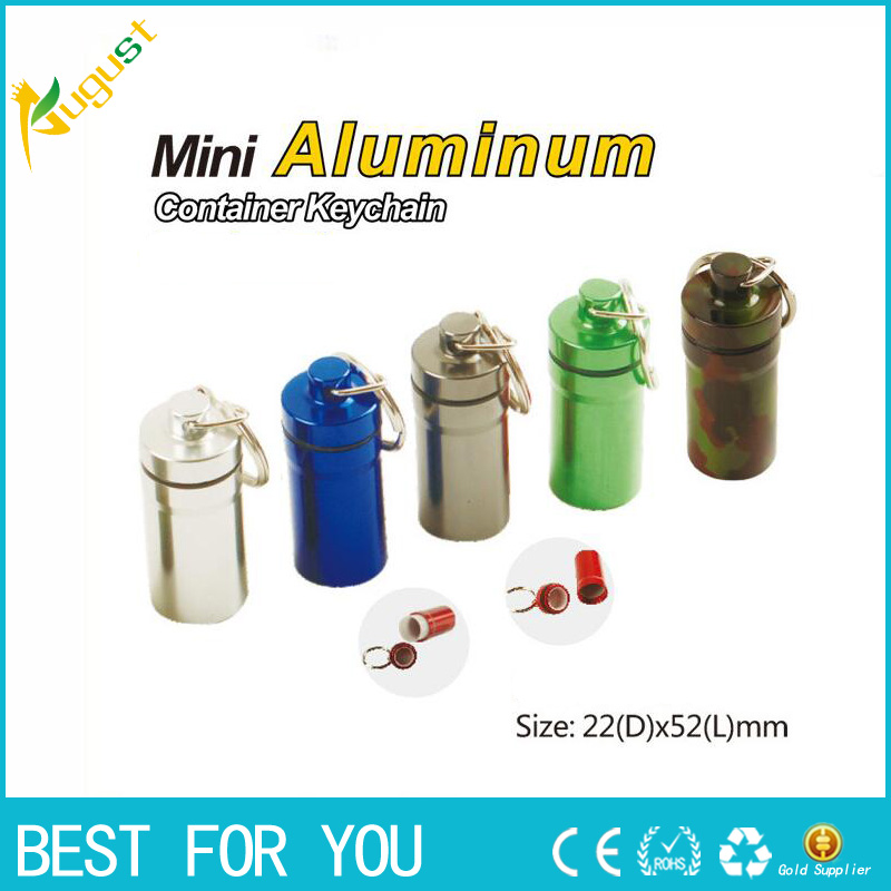 5pcs/lot Portable Stash Pill box case medicine Storage Keychain Bottle Keyring metal Aluminum Waterproof pill Bottle Container