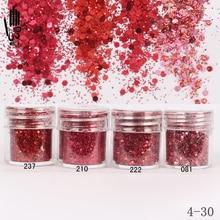 1 банка/коробка для дизайна ногтей, 10 мл, 4 винно красного цвета, Микс, блестящий порошок для ногтей, блестки, порошок для украшения ногтей, 300 цветов, 4 30