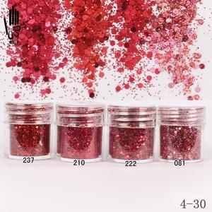 Image 1 - Nail Art 1 Jar/Box 10ml Nail 4 Wine Red Colors Mix Nail Glitter Powder Sequins Powder For Nail Art Decoration 300 Colors 4 30