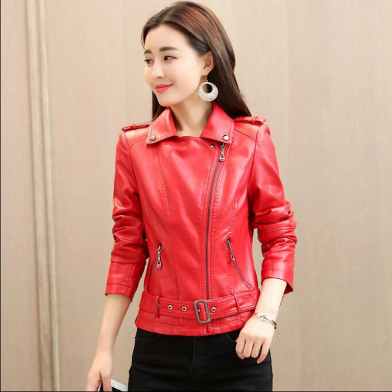 2018 new spring and autumn self-cultivation motorcycle jacket women's pu   leather   fashion coat casual dress   leather   jacket clothe