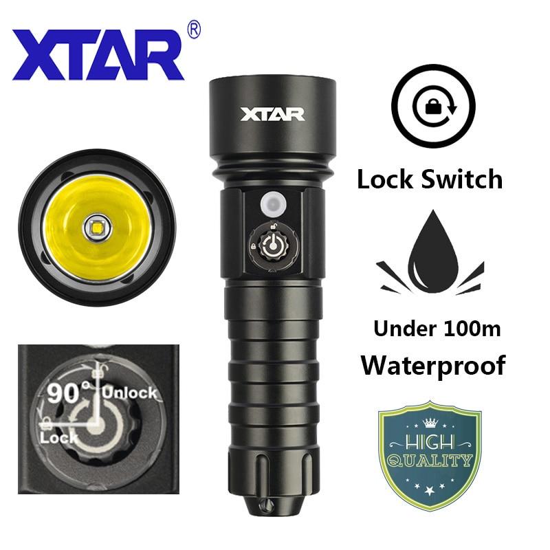 XTAR D26 1100 Lumens Cree L2 U3 interrupteur de verrouillage de plongée lampe de poche sous-marine 100 mètres 18650 batterie lampes de poche LED extérieure