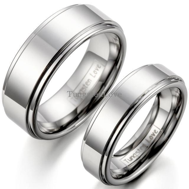 31891e715 6-8mm Flat Ridged Edges Silver Tungsten Carbide Wedding Bands For Mens  Women Unisex Aniversary