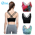 Professional Sports Bra Cross Back Cropped for Women Fitness Gym Workout Running Exercises Train Sujetador Deportivo with padded