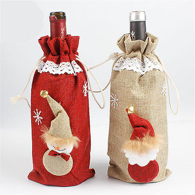Christmas Red Wine Bottle Sets Cover Gift Bags Elf Champagne Xmas Home Decoration Gift Holders