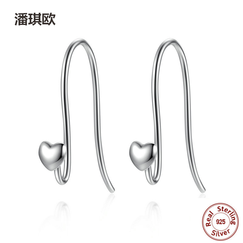 2017 Luxury Retro 100% 925 Sterling Silver Heart Classic Brand Earrings For Women Compatible with pan jewelery Earring