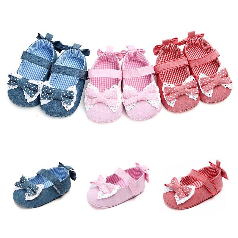 Baby Infant Toddler Girls Summer Flower Princess Soft Sole Crib Shoes  Bow-knot Soft Sole Prewalker Sneaker
