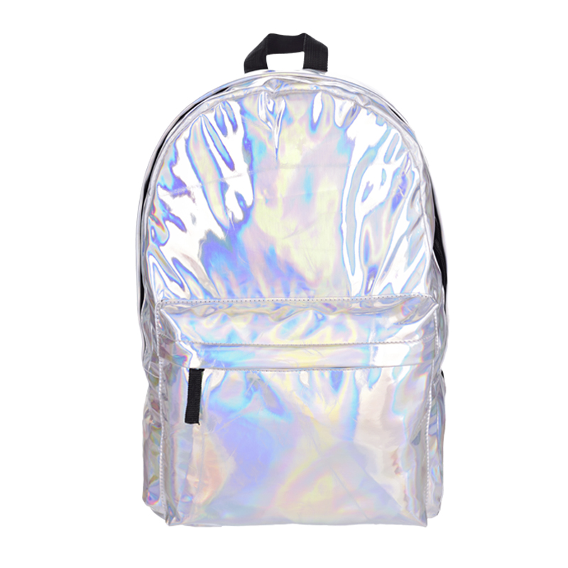 Leather quality laptop backpack women Hologram Backpack For School Student Womens Laser Silver Color Holographic Bag backpacks