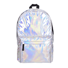 En cuir qualité ordinateur portable sac à dos femmes Hologramme Sac À Dos Pour Les Étudiants de L'école de Femmes Laser Argent Couleur Holographique Sac à dos