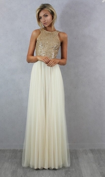 Charmming Chiffon Tulle with Top Champagne Gold Sequin Bridesmaid Dresses Formal Prom Dress 2016 Long Special Occasion Dresses