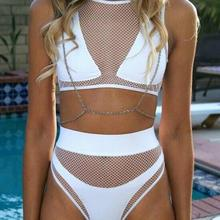 Sexy Swimsuit Black White Mesh Zipper back White Lady Mesh Swimsuit transparent bikini agent provocateau biquini