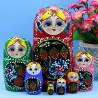 20cm Wooden Russian Nesting Doll 7 Layer Matryoshka Doll Russian Doll Children Wooden Toys Doll Christmas Gifts Birthday Gifts