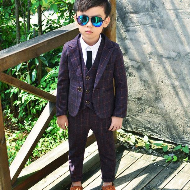 ActhInK 2017 Yeni 3Pcs Boys Plaid Toy Suiti Markası İngiltərə - Uşaq geyimləri - Fotoqrafiya 2