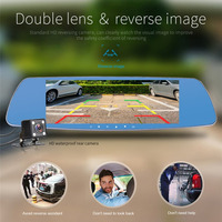 7 Inch Touch Screen Car DVR Full HD 1080P Dual Lens Camera Rearview Mirror Video Recorder
