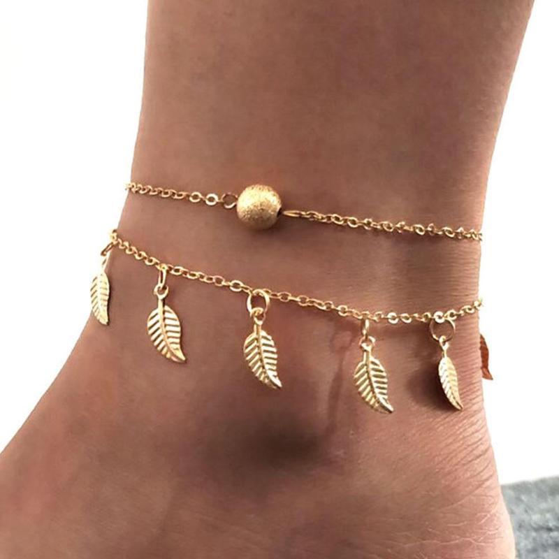 Aktiv Jocestyle Europäischen Mode Doppel Schicht Fußkettchen Kleine Perlen Kette Quaste Blatt Fuß Kette Ethnische Schmuck Geschenk Für Frauen Mädchen