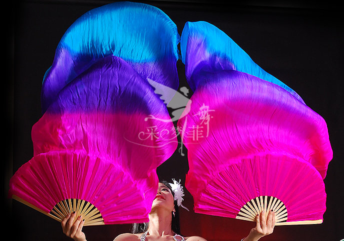 180cm Real Silk Belly Dance Fan Veils for Pair Rose Purple Sky blue Dance fan