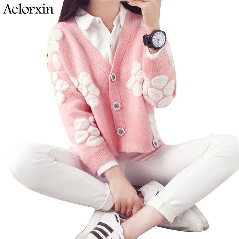 Aelorxin 2016 Autumn Winter Womens Knit Thick Warm Cardigan Perspective Polka Dot Large Flower V-neck Pink Sweets Girl Weaters