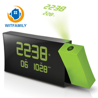 LCD Projection Radio Alarm Clock Display Weekday Temperature Green Backlight European Time Watch Digital Electronic