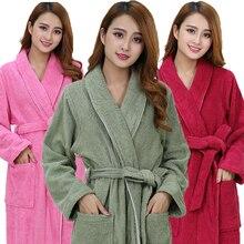 Cotton bathrobe women nightgown men towel fleece sleepwear blanket towel  thickening lovers long soft robe winter b1da0f72f