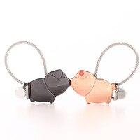 Milesi Мода Симпатичные Поцелуй свинья пару брелок для влюбленных Для женщин Key Holder Провода веревку keyring подарок кулон chaveiro llaveros