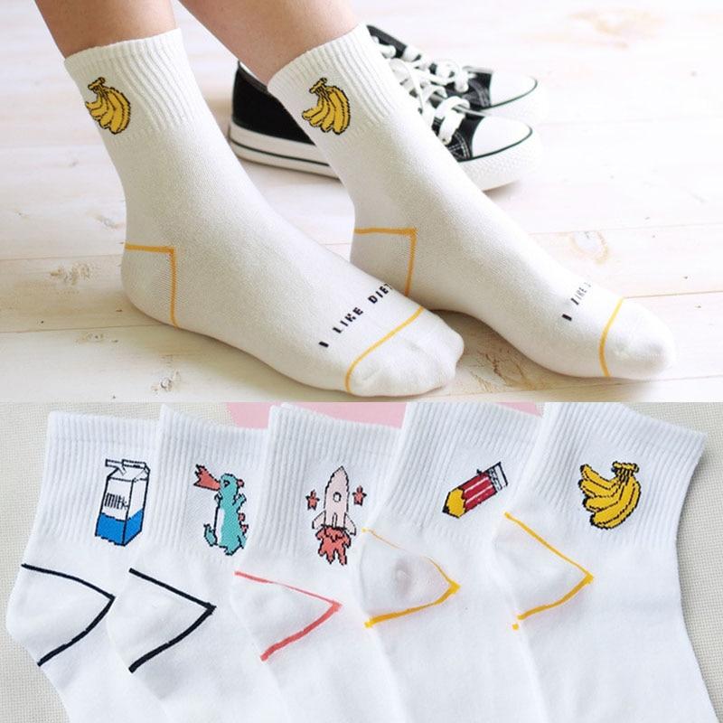 Sale White Cotton Letters Print   Socks   Lovely Cartoon Dinosaur Milk Banana Girls Casual Female   Socks