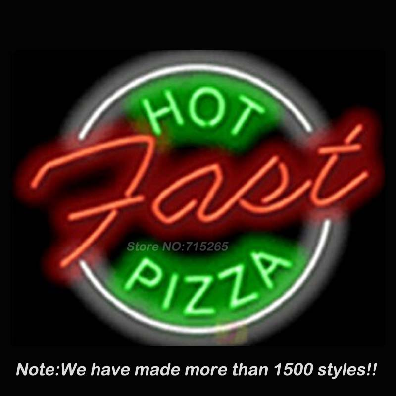 New Hot Pizza Neon Sign Neon Bulbs Store Display Real Glass Tube Handcrafted Art Design Decorate Advertising GiftS17x14