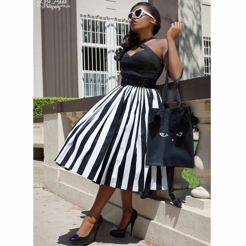 2c8298ab693 30- women vintage 50s swing midi skirts in black white striped plus size  saia rockabilly