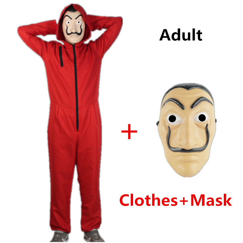 Halloween Salvador Dali Cosplay Movie Mask Money Heist The House of Paper La Casa De Papel Cosplay Costume Face Mask for adult in Movie TV costumes from Novelty Special Use