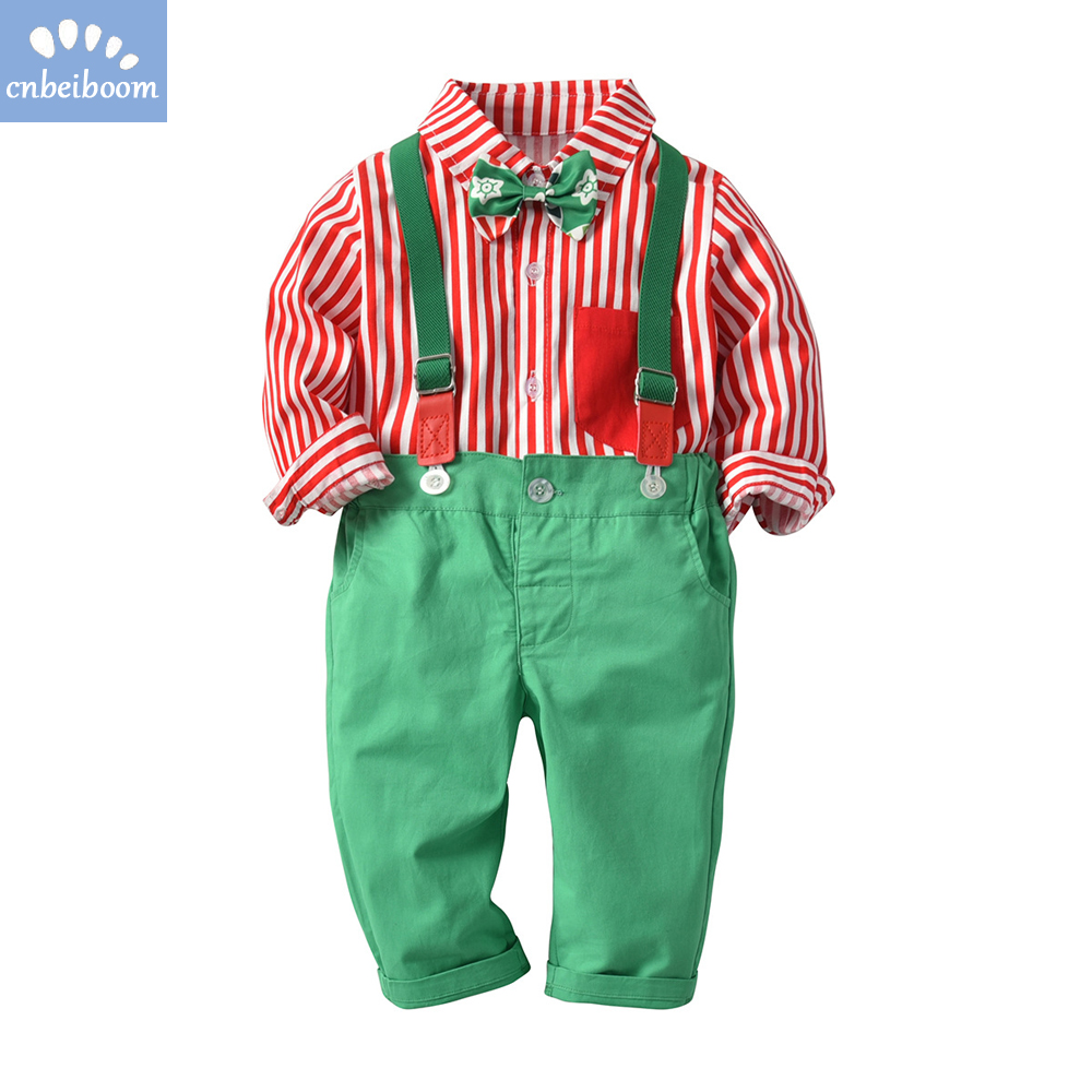 Baby boys Christmas clothing set Red green Toddler Kids Infant Boy shirt+Pants overalls xmas Outfits Clothes sets 2018 new year new arrival baby boy clothes sets plaid gentleman suit infant toddler boys vest pants children kids clothing set outfits 2 8 age
