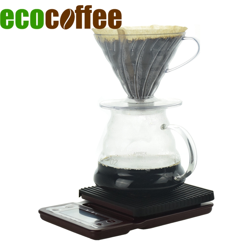 Ecocoffee Pour Over Coffee Set V60 Plastic Pripper With Paper Filters Coffee Kettle Kitchen Scale With Timer Barista Accessories