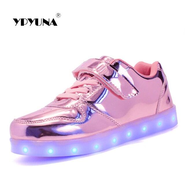 innovative design 23df4 ba728 US $22.84 |Size25 37//USB Lade Kinder Jungen Schuhe mit sohle enfant Led  Licht Glühende leuchtende Turnschuhe für Mädchen Schuhe Kinder hcy806 in ...