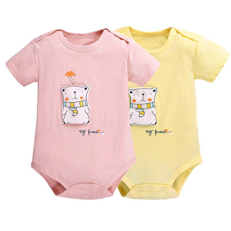 Baby Body Boy Girls Ropa 2 unids Mono de manga corta Ropa Recién - Ropa de bebé
