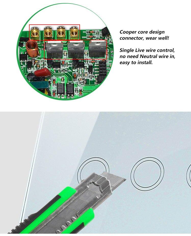 2016 nouveau commutateur mural tactile 3 voies 1 voie, interrupteur tactile et interrupteur avec témoin LED d'éclairage, AC110V-240V, CE 1-1000 W - 3