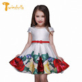 TWINSBELLA Princess Girls Dresses 2017 Summer Children Rose Flower Print Waistband Vestidos Kids Party Dresses For Girls