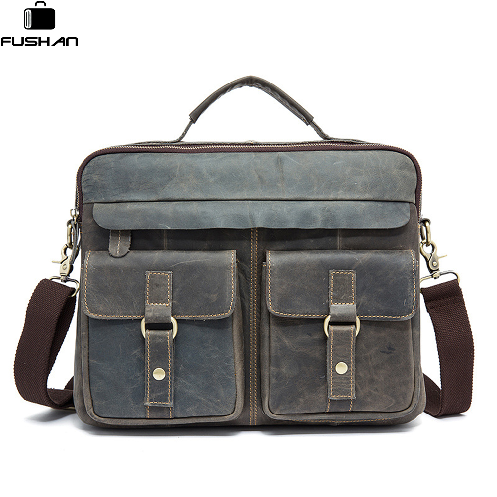 FUSHAN Genuine Leather Men Bag Business Briefcase Messenger Handbags Men Crossbody Bags Mens Travel Laptop Bag Shoulder Tote Bag
