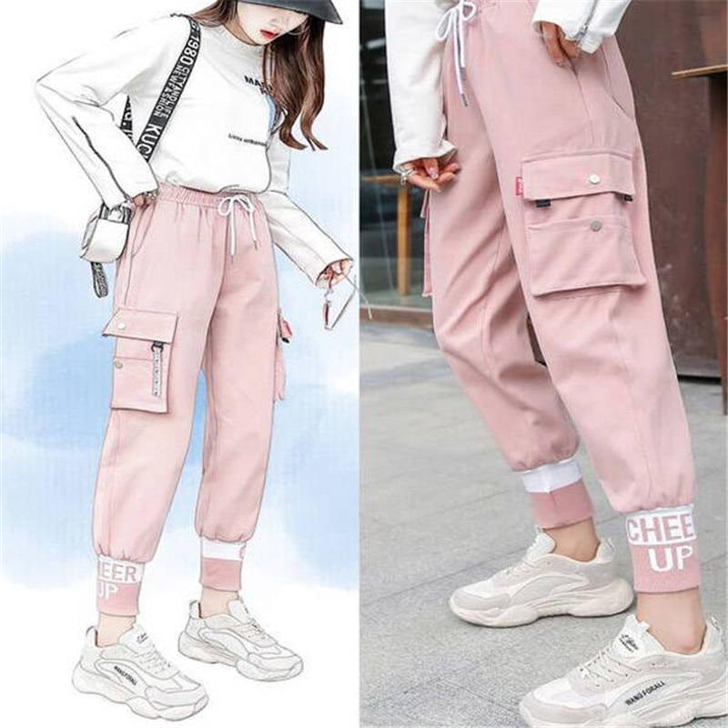 Pink High Waist Pants Streetwear Women Casual Pants Pockets Lasdies Patchwork Pencil Sweatpants Cool Autumn Bottom Korean Pants