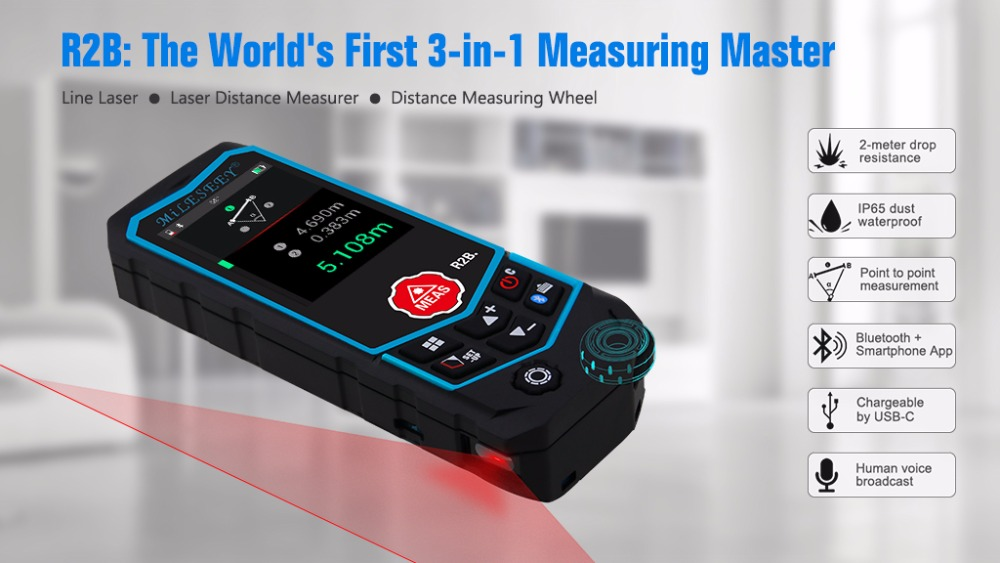 Entfernungsmesser Mit Rad : Mileseey r2 r2b laser entfernungsmesser