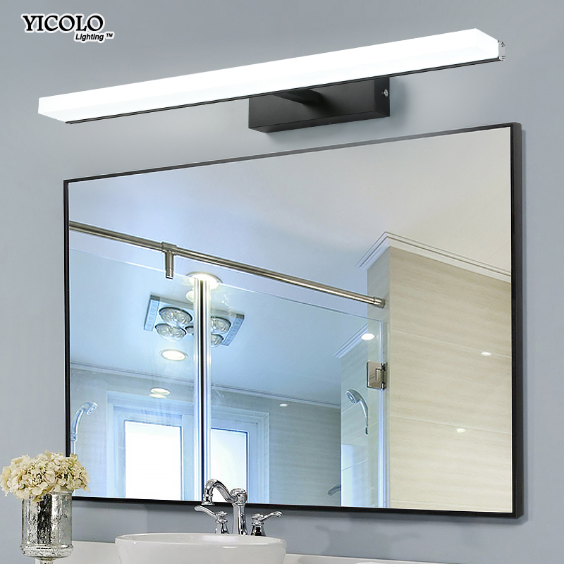 7w 9w 13w 16w Led Acrylic Wall Lamps black sliver bathroom Living Room Indoor mirror wall lights 40cm 60cm 80cm 100cm bathroom ecobrt 80cm long modern bathroom wall lights indoor 16w led mirror lamps over mirror 110v 220v