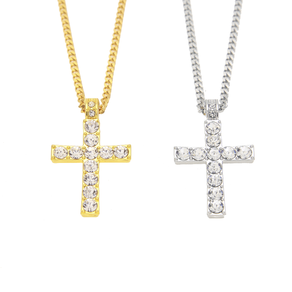 Gold Cross Necklace With Rhinestone