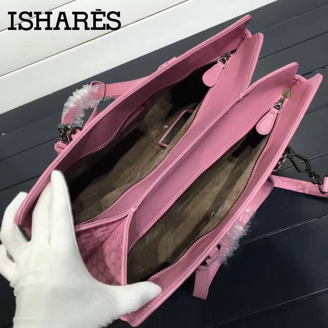 ISHARES sheepskin woven handbags double zipper fashion design saffiano genuine leather totes women crossbody bags IS168039