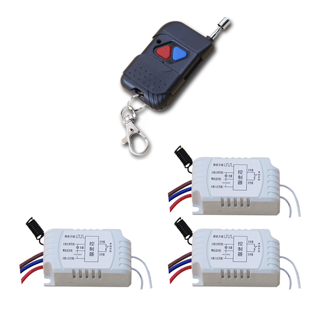 2017 New 1CH Radio Controller RF Wireless Relay Remote Control Switch 1pcs Transmitter+3pcs Receiver For Learning Code Price