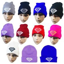Chapéu do inverno da moda chapéus de diamante para as mulheres malha slouchy beanie bonnet Crânio das mulheres Grossas chapéus de lotação, Folgado quente do sexo feminino Cap(China (Mainland))