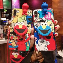 3D Cute Sesame Street Case for iPhone X S R Max 8 7 Plus 6 6S 6 Plus Cartoon Doll Toys Wrist Strap Soft TPU Phone holder Cover(China)