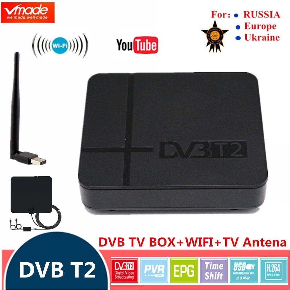HD Digital TV box FTA DVB-T2 Terrestrial Receiver TV Tuner DVB T2 k2  MPEG-2/4 H 264 with USB WIFI + TV Antenna HDMI Set Top Box