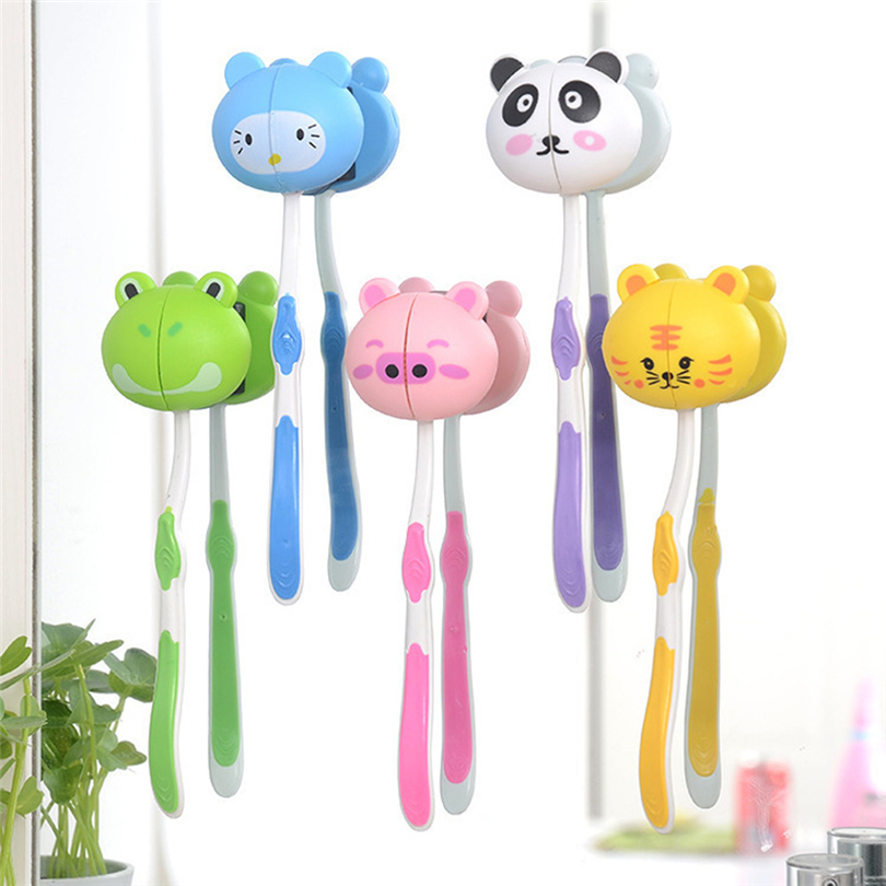 Tooth brush holder Bathroom Accessories Lovely Cartoon Animal Head Toothbrush Holder Stand Cup Mount Suction wholesale JJ15 image