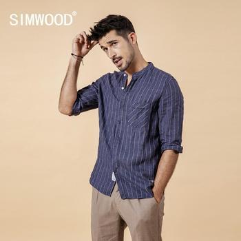 Casual Linen Striped Three Quarter Sleeve Shirt