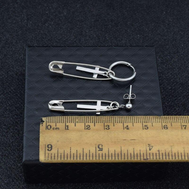 kang daniel Stainless Steel Cross Pin Pendant Stud Earring 2