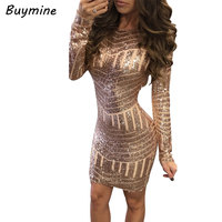 2016 Women Sequined Dress Sexy Night Club Party Dress Backless Long Sleeve Dresses Shinning Christmas Dress