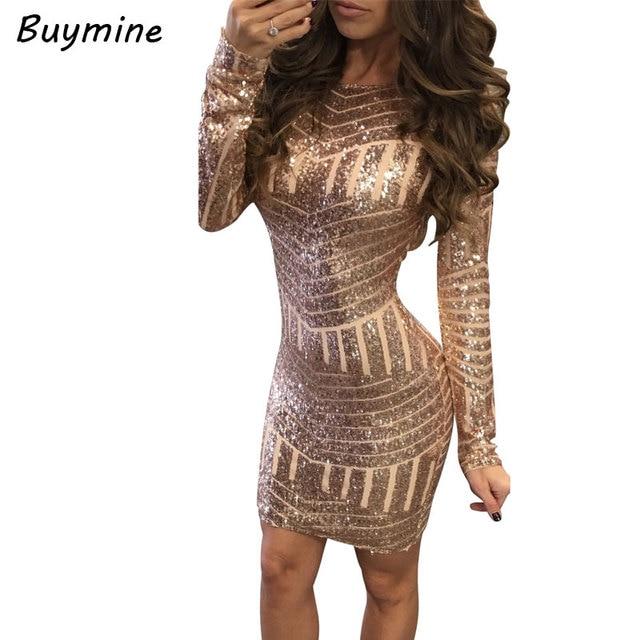 Backless Sexy Party Dresses Package Hip Nightclub Dress 2018 New Year Shiny Gold  Sequin Bodycon Dress Women Vestido De Festa XL b2864f54b838